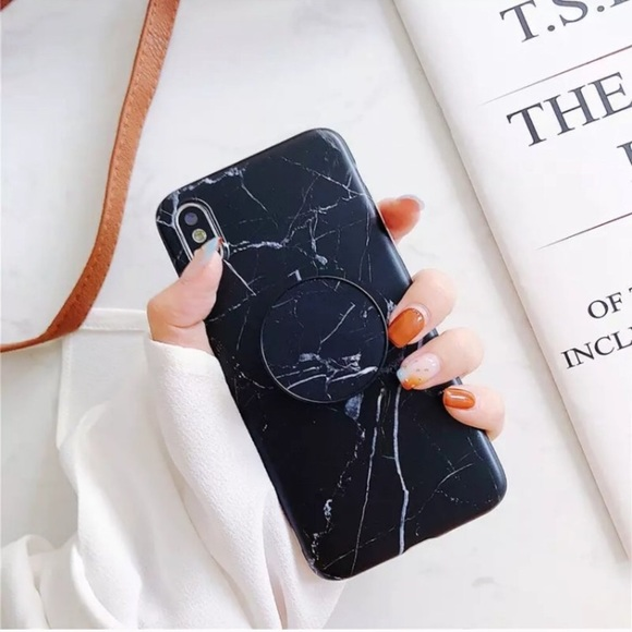 100% authentic 34d90 8953e NEW! iPhone X Black Marble Case With Popsocket Boutique
